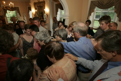 Receiving the blessing from the gathered community at our wedding
