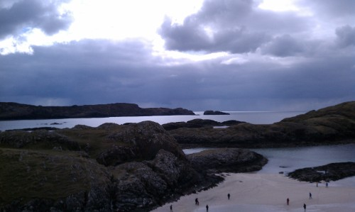 I climbed a high rock to take this photo, looking west from the Machair on Iona.